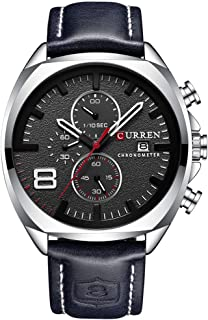 CURREN Mens Leather Strap Watches Classic Casual Dress Stainless Steel Waterproof Chronograph Date Analog Quartz Watch