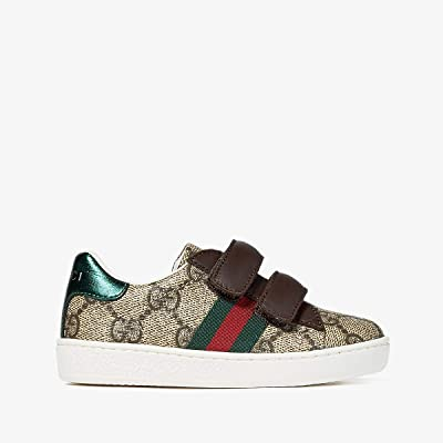 Gucci Kids New Ace V.L. Sneakers (Toddler) (Beige/Green) Kids Shoes