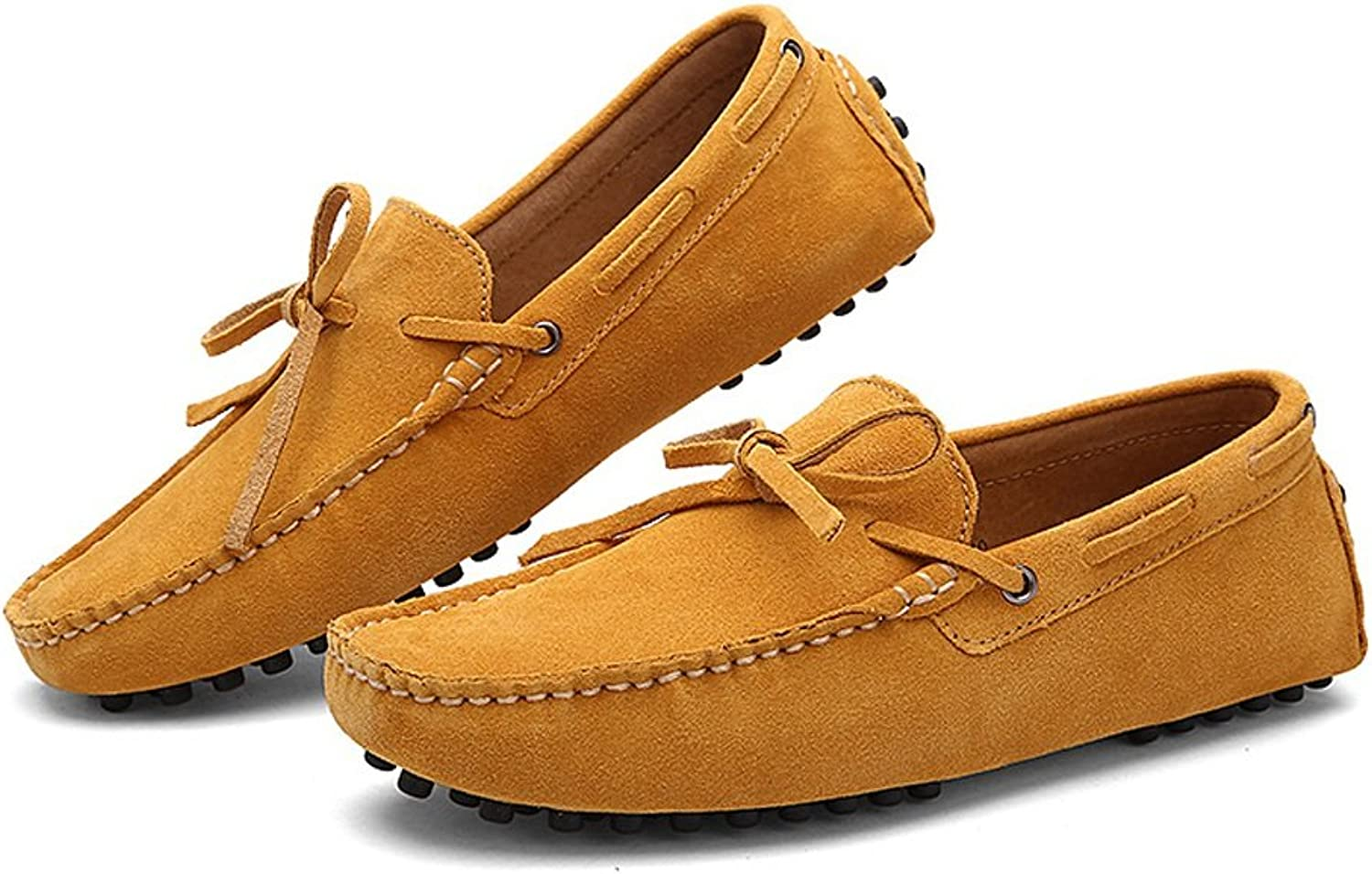 Men's Driving Loafers Genuine Leather Boat Moccasins Rubber Studs Sole (color   Brown, Size   6.5 UK)