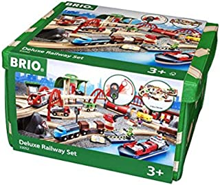 Deluxe Railway Set | Wooden Toy Train Set for Kids Age 3 and Up