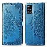 Bear Village Hülle für Galaxy M31S, PU Lederhülle Handyhülle für Samsung Galaxy M31S, Brieftasche Kratzfestes Magnet Handytasche mit Kartenfach, Blau