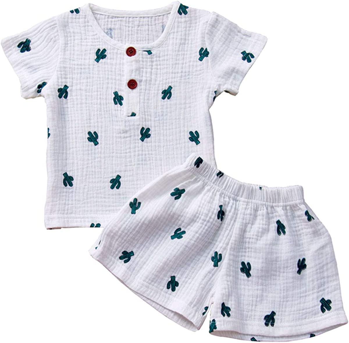 Mubineo Toddler Girl Boy Cotton Linen Comfy Short Sleeve Tops Shorts Sets Outfit Clothes