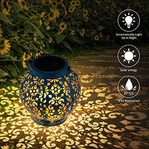 HITECHLIFE Jardín Al Aire Libre Lámpara, Llevó La Linterna Solar, Luces Marroquíes Silueta Solar Luces De Luz Colgante Lámpara De Metal Luces Jardín Lámpara Jardínimpermeable Patio Iluminado - azul