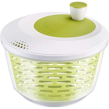 Westmark Essoreuse à Salade, Capacité : 4,4 L, ø 23,5 cm, Plastique, Sans BPA, Spinderella, Couleur: Transparent/Blanc/Vert, 2430224A