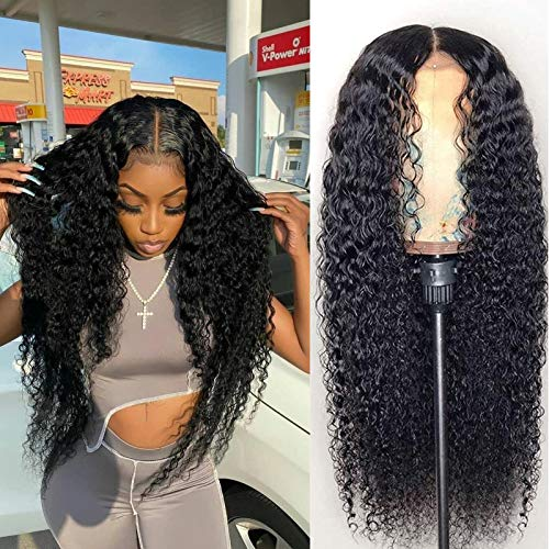 BLY 5x5 HD Transparent Lace Front Wigs Human Hair Deep Wave Lace Closure Wig 24 Inch 180% Density Pre Plucked Wigs for Black Women Natural Color Full & Thick