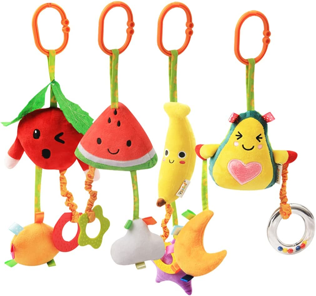 KAKIBLIN Baby Hanging Rattle Toys, 4 Pack Car Seat Stroller Toys Soft Squeaky Toys for Baby Newborn Infant Car Bed Crib Travel Activity, Fruit