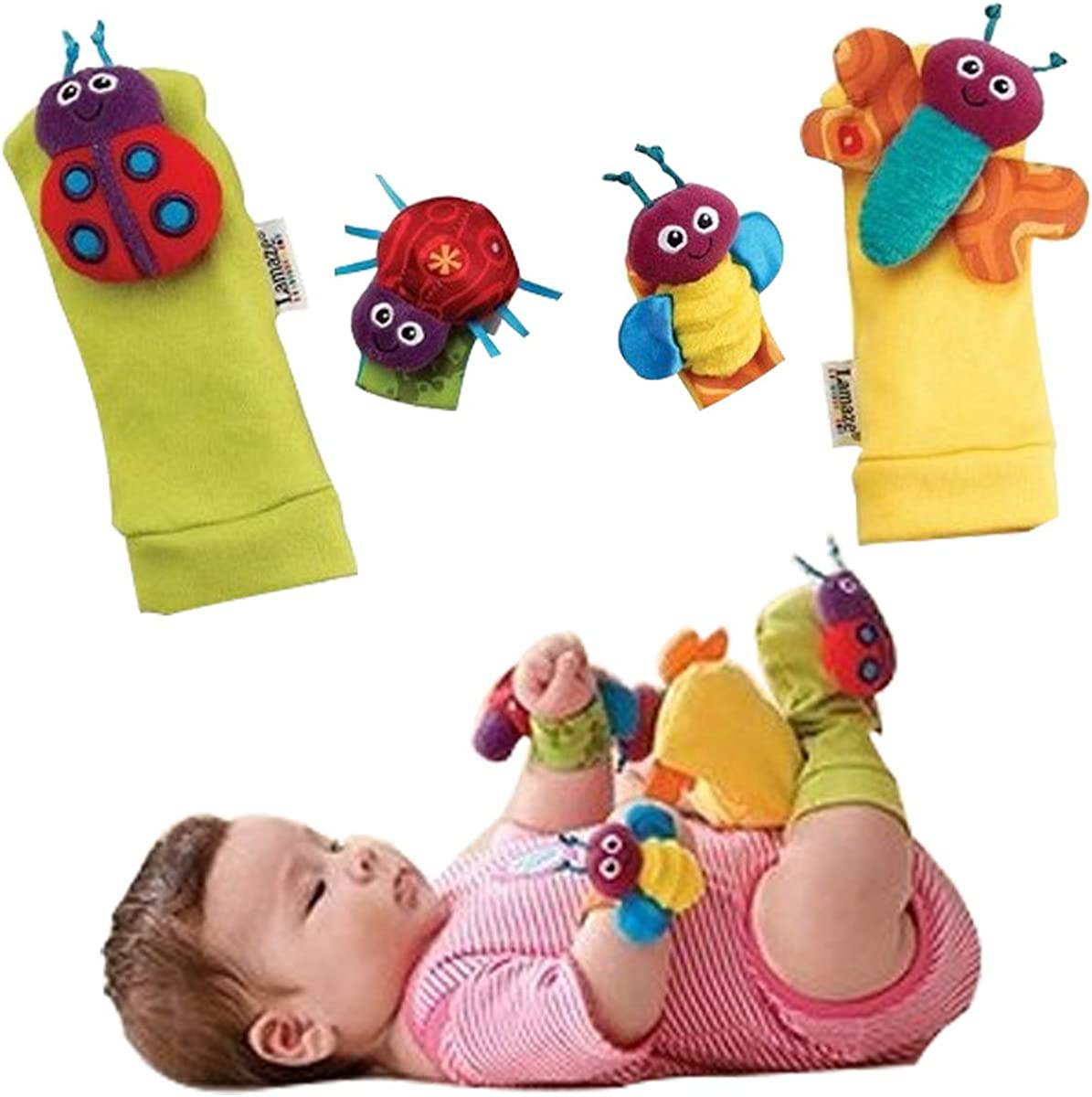 TINTAO Baby Socks Toys Wrist Rattles And Foot Finders Ankle Socks Lady Bugs Set 4 Pcs, CS02
