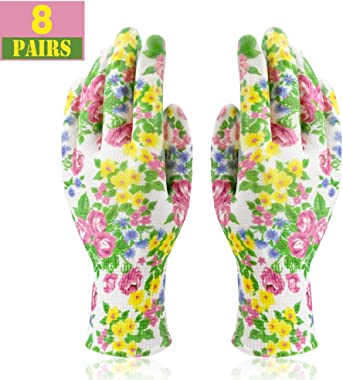 Colwelt 8 Pairs Gardening Gloves for Women, Nitrile Coated Garden Gloves, Outdoor Protective Work Gloves for Gardening, Fishi