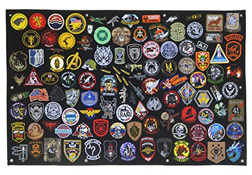 Antrix Tactical Emblem Badge Patch Holder Patch Panel Patch Wall Display Board Patch Hang Display Poster Frame Military Hook and Loop Backing Patch Hang Board Panel - 43.5x27.5'