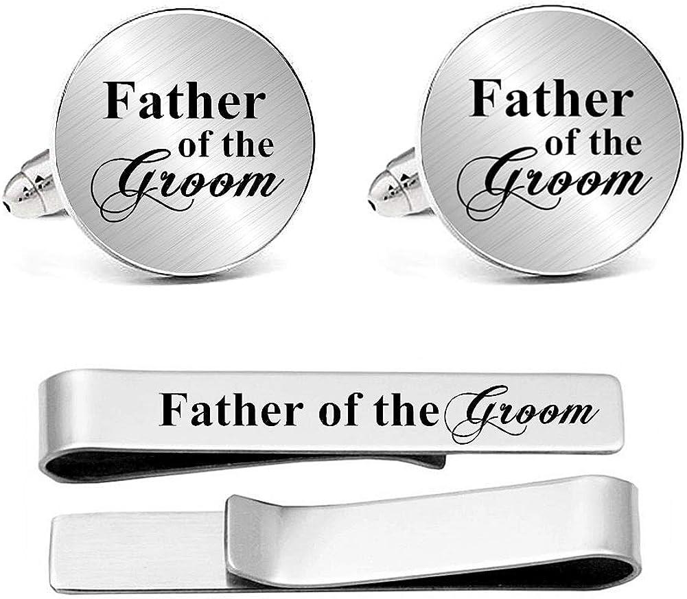 Kooer Custom Personalized Cufflinks & Tie Clip Set Wedding Jewelry Cufflinks Engraved Gifts for Men
