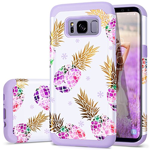 Fingic S8 Case,Samsung S8 Case Pineapple, Purple Pineapple Slim Fit Case for Women Girls Hard PC Soft Rubber Anti-Scratch Protective Case Cover for Samsung Galaxy s8 2017 ONLY,Pineapple/Purple
