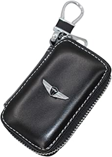 Wall Stickz Black Leather Car Key Case Remote Control Package Auto Key Chains fit Genesis Accessory