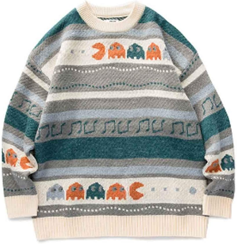 ZYING Animal Winter Sweaters Pullover Harajuku Neck Korean Fashion Sweater Japan Streetwear Clothes (Color : M Code)