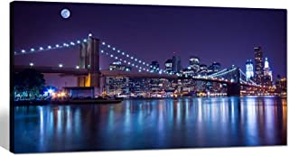 sechars - Brooklyn Bridge Canvas Wall Art Large Size 24