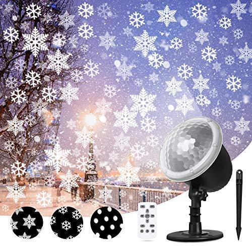 snowflake light,LED Schneeflocke Projektor, Weihnachten Projektor für Innen und Außen Dekoration, Outdoor Schneeflocke Projektor Licht mit Fernbedienung, IP65