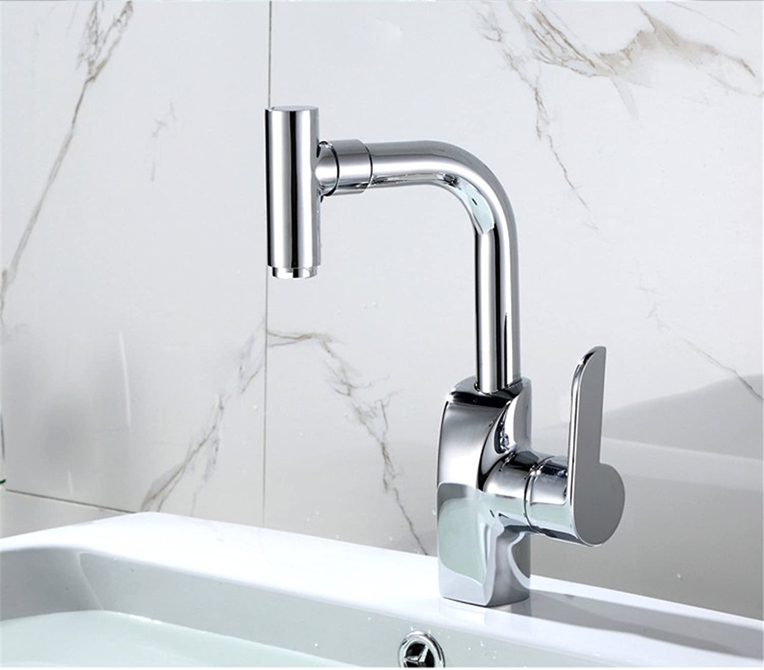 Lalaky Taps Faucet Kitchen Mixer Sink Waterfall Bathroom Mixer Basin Mixer Tap for Kitchen Bathroom and Washroom Vintage Chrome Stainless Steel Pure Copper