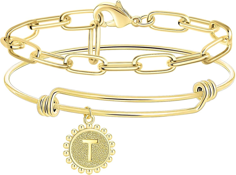 Howoo Gold Initial Bracelets for Women 14K Gold Plated Bangle br