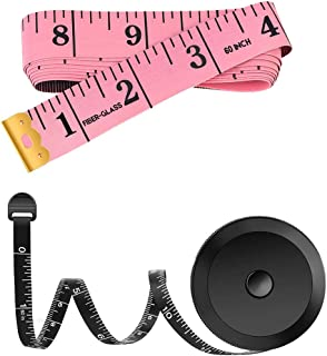 2 Pack 60-Inch Measuring Tape for Body Waist Fabric Tailor Cloth Sewing Knitting Craft Measurement, Fashion Soft Mini Metr...
