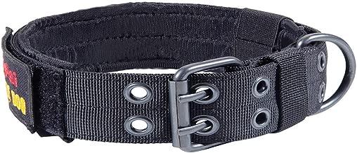 JIEPAI Military Dog Collar Adjustable Nylon k9 Tactical Dog Collar with D-Ring & Buckle Collars for Medium Large Dogs XL Black JPA022