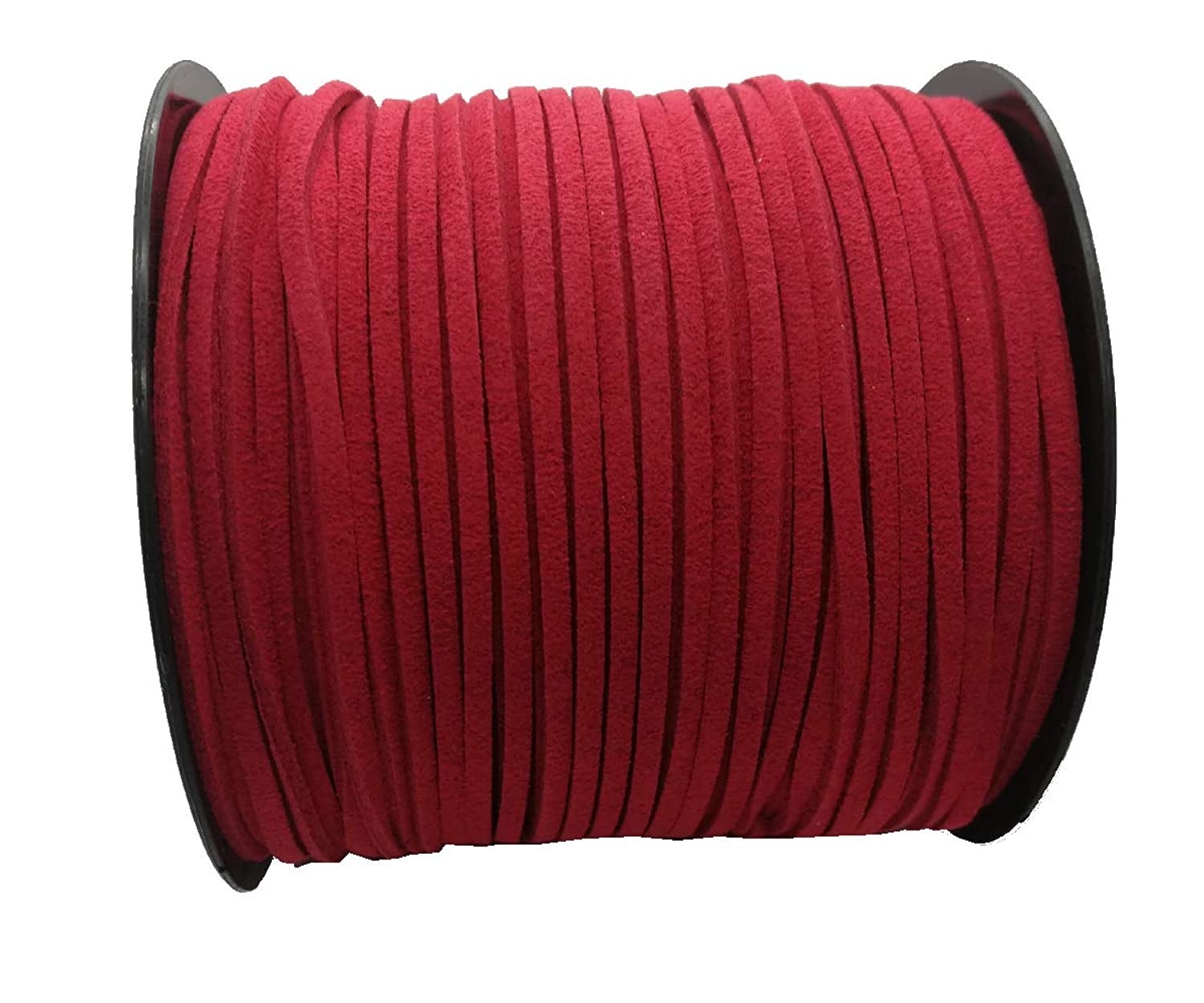 Pamir Tong Strong Suede Leather Lace 100 Yards 2.6mm Faux Leather Cord for Jewelry Making Tassels Bracelet Necklace DIY (Red)