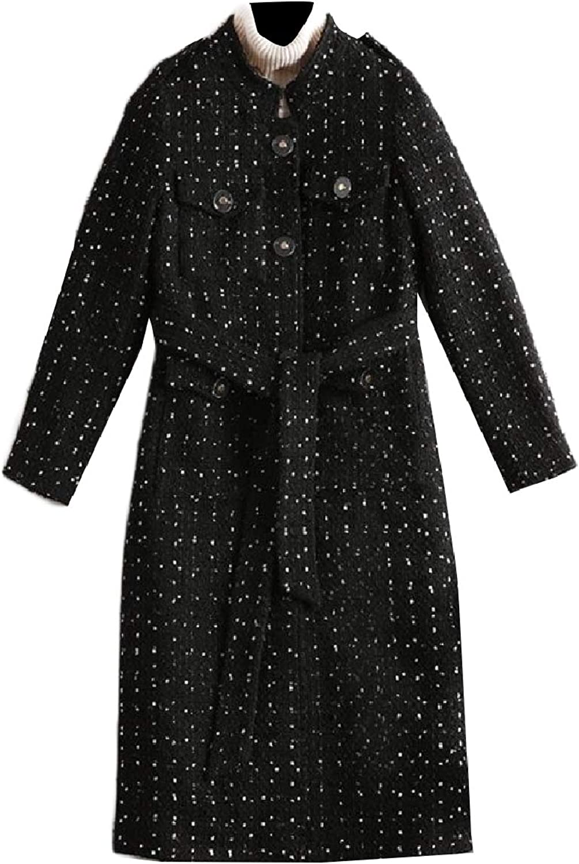 Baseby Womens Classics Wool Blend Belt Single Button Trench Coat Jacket