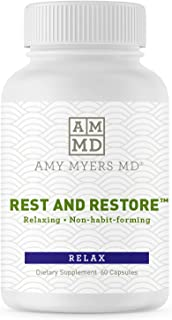 Rest and Restore by Dr. Amy Myers for Restful Sleep– Supports a Healthy Night's Sleep, Helps Maintain a Regular Sleep Cycle and Supports a Calm Relaxed Mood– Dietary Supplement 60 Capsules