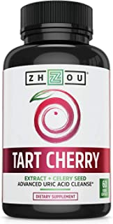Tart Cherry Extract Capsules with Celery Seed - Advanced Uric Acid Cleanse for Joint Comfort, Healthy Sleep Cycles & Muscl...