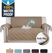 100% Waterproof Furniture Covers for Sofa and Loveseat Slip Resistant Loveseat Slipcover Protector Non-slip Furniture Protector Water-Repellent Soft Protector/Slipcovers (Love Seat: Taupe)