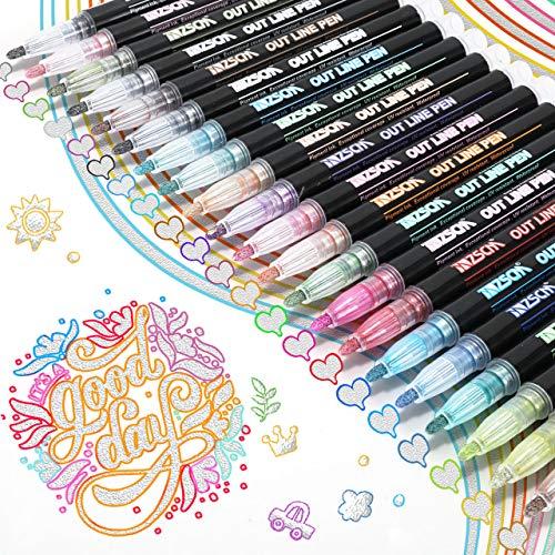 RATEL Doppelte Linie Stift, 21 Farben Acrylstifte, Outline Stift Double Line Marker Glitzerstifte fur Kartenschreiben / Geburtstagsgrupkarte / Sammelalbum / Malen / DIY Kunsthandwerk