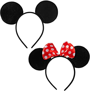 FANYITY 2 Pcs Mouse Ears Headband Hairs Accessories for Children Mom Baby Boys Girls Birthday Party or Celebrations