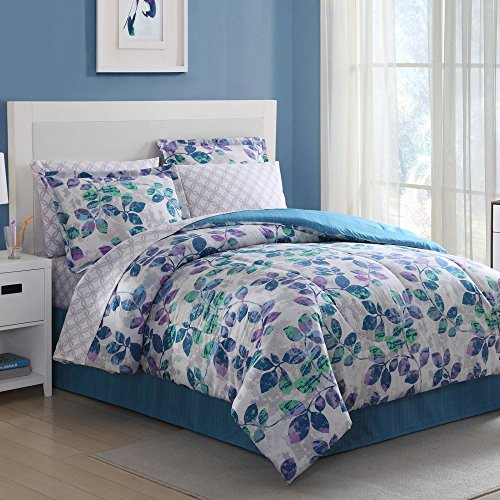 Ellison Great Value 15701604BB Abela 8 Piece Bed in a Bag, King, Blue