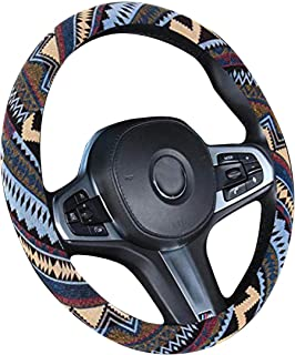 XiXiHao Ethnic Style Coarse Flax Cloth Automotive Steering Wheel Cover Anti Slip and Sweat Absorption for Women Boho (Brown)