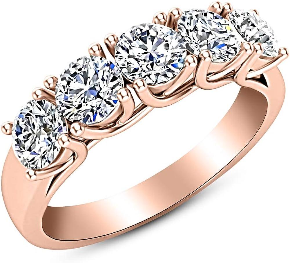 1 Carat ctw 14K store White free Gold Round Diamond 5 Ladies W Five Stone