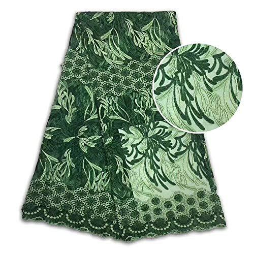 Voor Party Afrikaanse kant stof tule kantwerk Nigeriaanse Franse Mesh Kant Materiaal van de stof for de jurk (Color : GREEN, Size : 5YARDS)