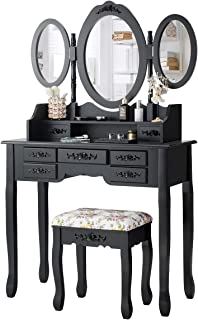 CHARMAID Vanity Set with Tri-Folding Mirror and Cushioned Stool, Dressing Table with 7 Drawers and a Shelf, Makeup Table W...