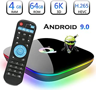 Android 9.0 TV Box, EVANPO Smart Box Android TV Player 4GB RAM 64GB ROM Quad Core Speed Support 3D/ 4K/ 6K Ultra HD/H.265/2.4GHz WiFi/USB 3.0/ HDR Android Media Box