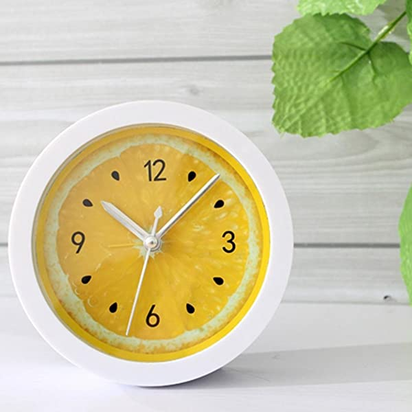 Highpot 创意迷你柠檬设计桌面闹钟儿童房装饰黄色