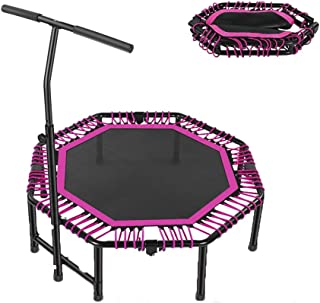 48'' Fitness Trampolines, Mini Trampoline Rebounder Ultra Quiet Octagon Foldable With Adjustable Handle for Adult Child In...