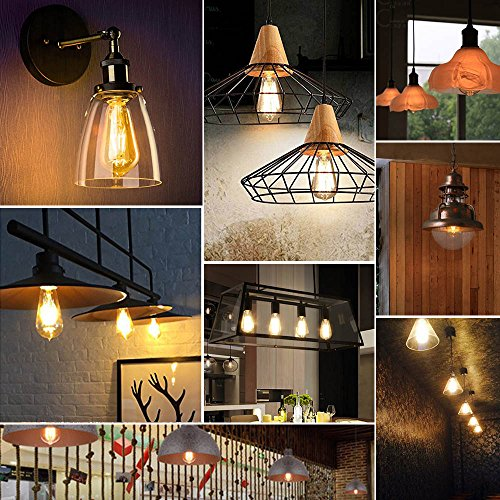 Edison LED Light Bulbs, Amber, Dimmable, 4W=60W Equivalent, 2700K, E26 Medium Base, 500LM, Warm White ST64, Antique Vintage Style Light, Squirrel Cage Filament,Golden Glass,4-Pack