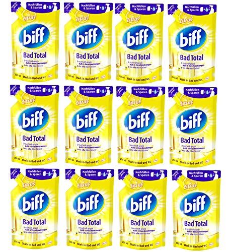 Biff Bad Total Zitrus Nachfüllpack, Badreiniger, 12er Pack (12 x 250 ml) Kraftvoll gegen Kalk & Verschmutzungen