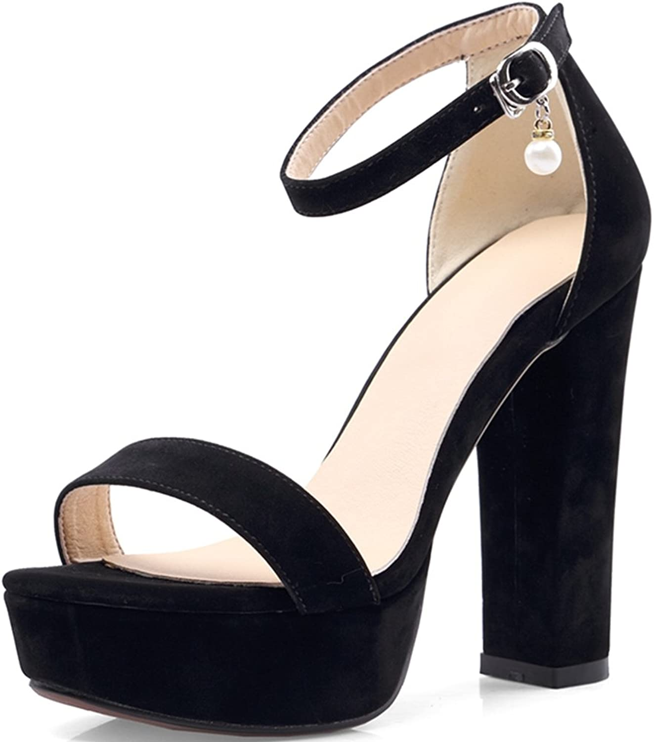 KingRover Women's Platform Ankle Strap High Heel - Open Toe Sandal - Sexy Chunky Dressy Heel Summer shoes