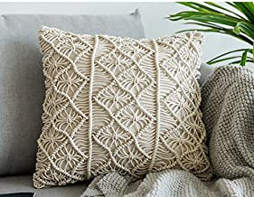 RISEON Bohemia Handmade Cotton Macrame Throw Pillow Cases Cover Pillowcases for Couch Sofa Boho Home Decor gift-18 x 18 inches,Off White (A)