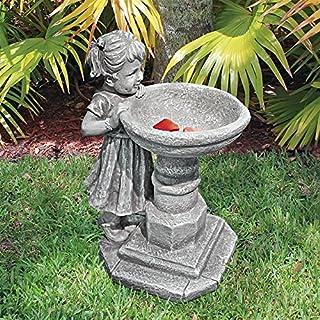 Design Toscano Georgina's Garden Gaze Child at Birdbath Statue