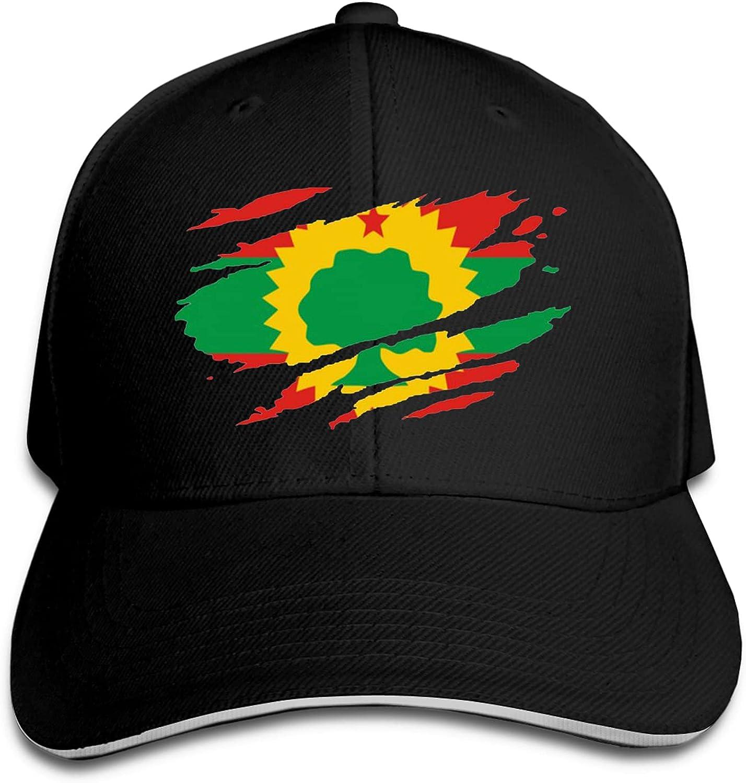 Zusolf Flag of The Oromo Hat Funny Neutral Printing Truck Driver Cap Cowboy Hat Adjustable Skullcap Dad Hat for Men and Women Black