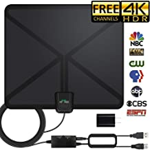 HDTV Antenna, 2019 Indoor Amplified Digital TV Antenna 120Miles Range Signal Booster for 4K Free Local Channels 17ft Coax Cable Support All TV's