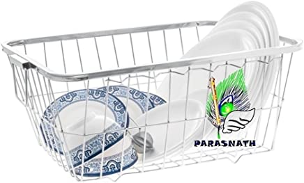 Parasnath Heavy Stainless Steel Medium Dish Drainer No.2 Tokra, 54 x 42 x18 cm,- (Made In India)