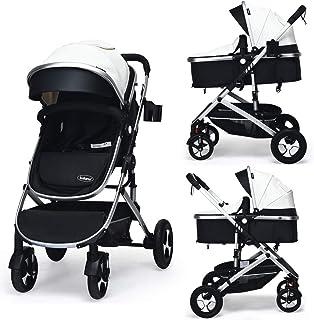 Best INFANS Baby Stroller for Newborn, 2 in 1 High Landscape Convertible Reversible Bassinet Pram for Infant & Toddler, Foldable Aluminum Alloy Pushchair with Adjustable Backrest, 3D Suspension (White) Review