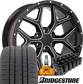 OE Wheels 22 Inch Fit Chevy Silverado Tahoe GMC Sierra Yukon Cadillac Escalade Deep Dish CV98 Black 22x9.5 Rims Bridgestone Dueler Alenza HLTires Lugs TPMS Hollander 5668 SET