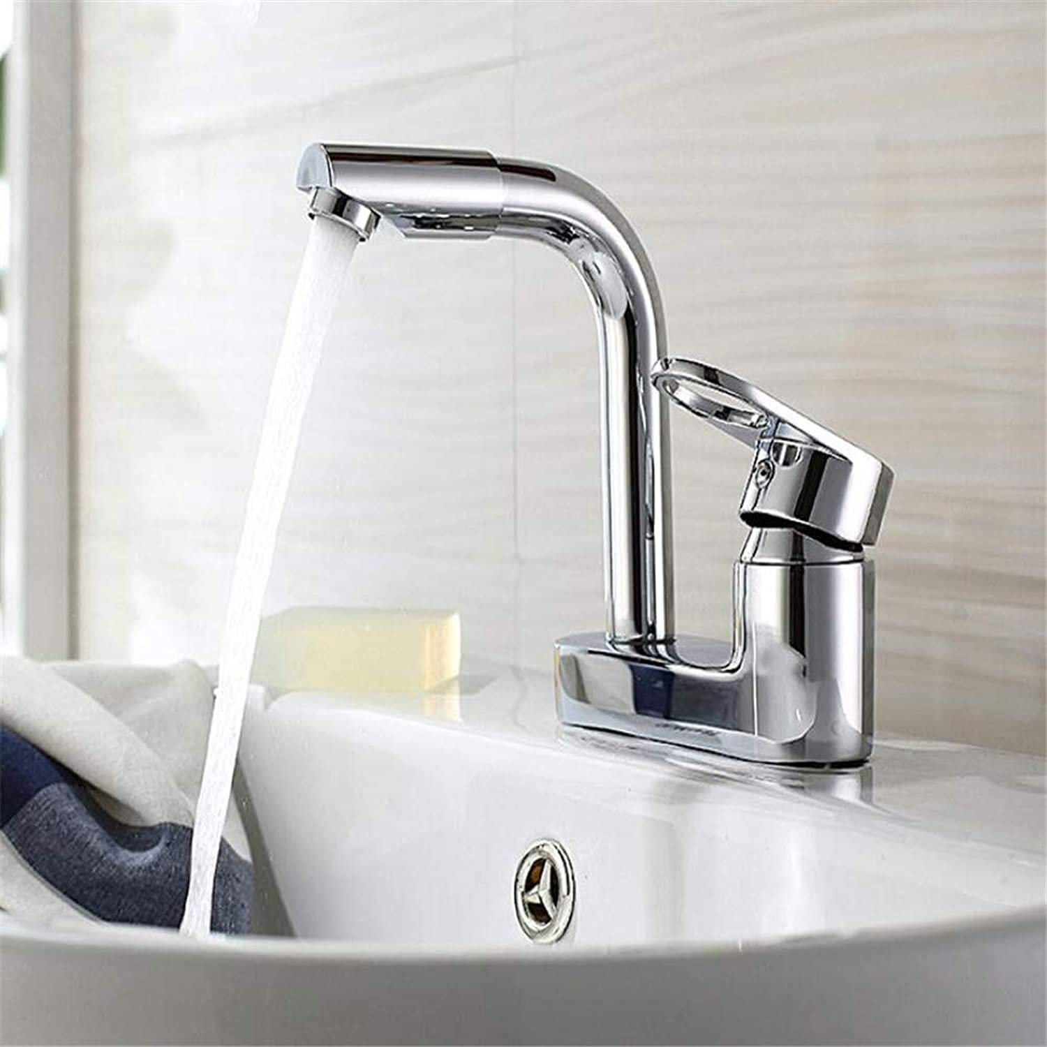 Basin Mixer Tap Copper Basin Double Hole Hot and Cold Faucet Bathroom Bathroom Wash Basin Household Bathroom Three Holes Can Be redated