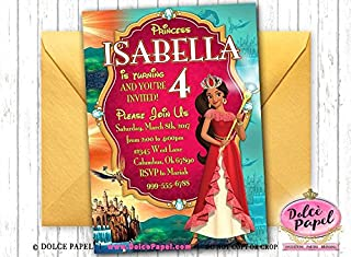 10 Elena of Avalor Birthday Party Invitations ANY AGE Custom Gorgeous Disney Princess Birthday Invitations Red and Gold Metallic